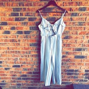 {IRIS} NWT Blue & White Striped Pant Romper + Bow